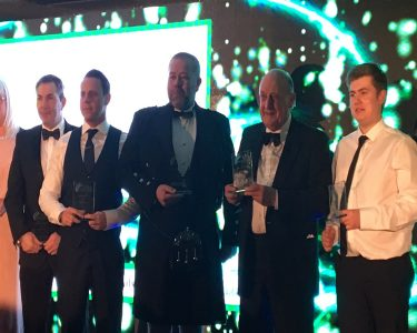 Northumberland Business Award 2018 winners on a stage