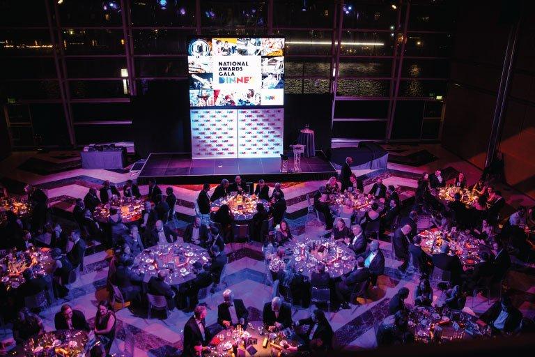 overhead shot of table layout at Make UK awards 2020