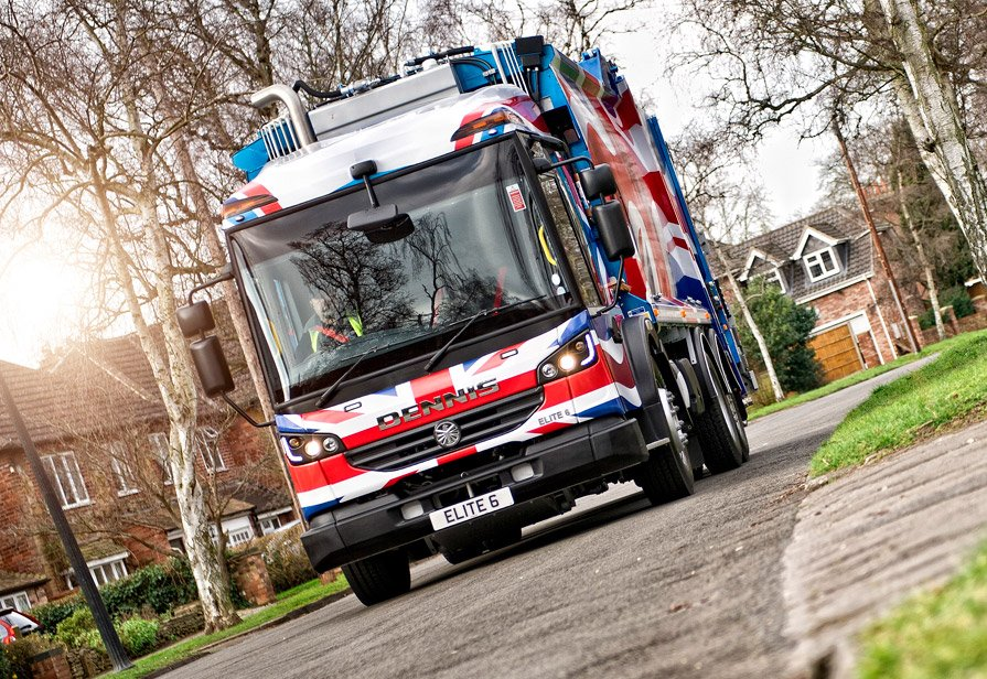 Dennis Eagle refuse collection vehicle in Union Jack colours
