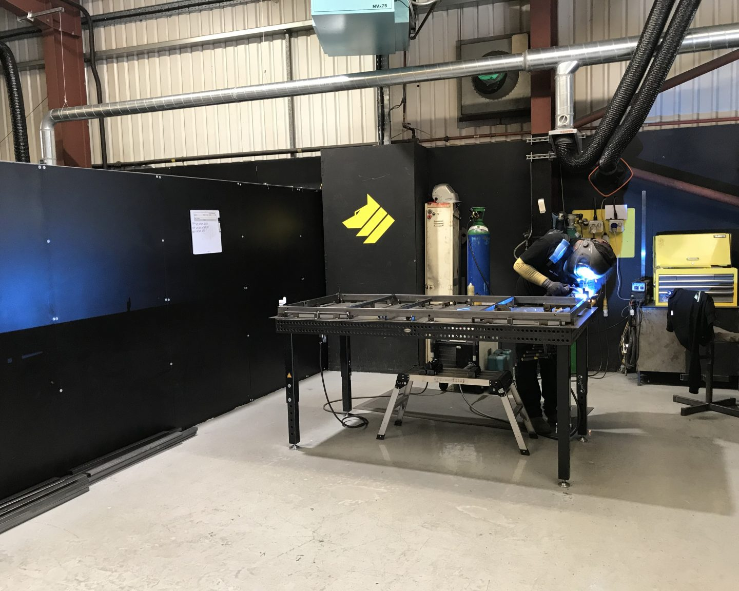 Welding the Covid19 Treatment Bed at Universal Wolf